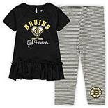 Girls Toddler Black/Gray Boston Bruins Fly on Ice Hoodie Top & Leggings Set