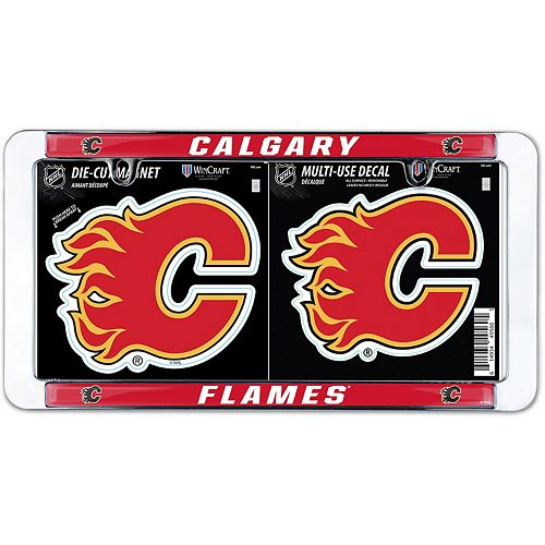 Wincraft Calgary Flames License Plate Frame Magnet Multi Use Decal Set