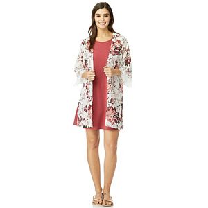 Juniors' WallFlower Solid Swing Dress & Printed Kimono Set