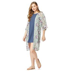Juniors' WallFlower Solid Swing Dress with Long Kimono