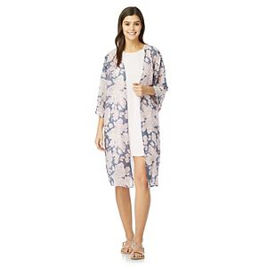 Juniors' WallFlower Solid Swing Dress with Long Kimono