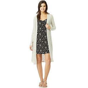 Juniors' WallFlower Printed Knit Dress with Knit Cardigan