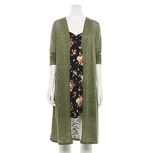 Juniors' WallFlower Printed Knit Dress with Knit Cardigan