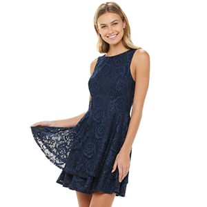 Juniors' Speechless Tiered Fit And Flare Dress