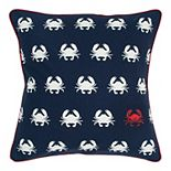 Rizzy Home White Red Crab Throw Pillow