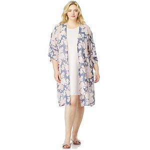 Juniors' Plus Size WallFlower Solid Dress and Printed Long Kimono