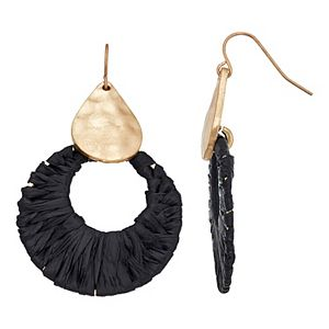 SONOMA Goods for Life® Rafia Wrapped Hoop with Gold Teardrop Earrings