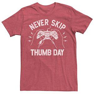 Men's Never Skip Thumb Day Gaming Graphic Tee