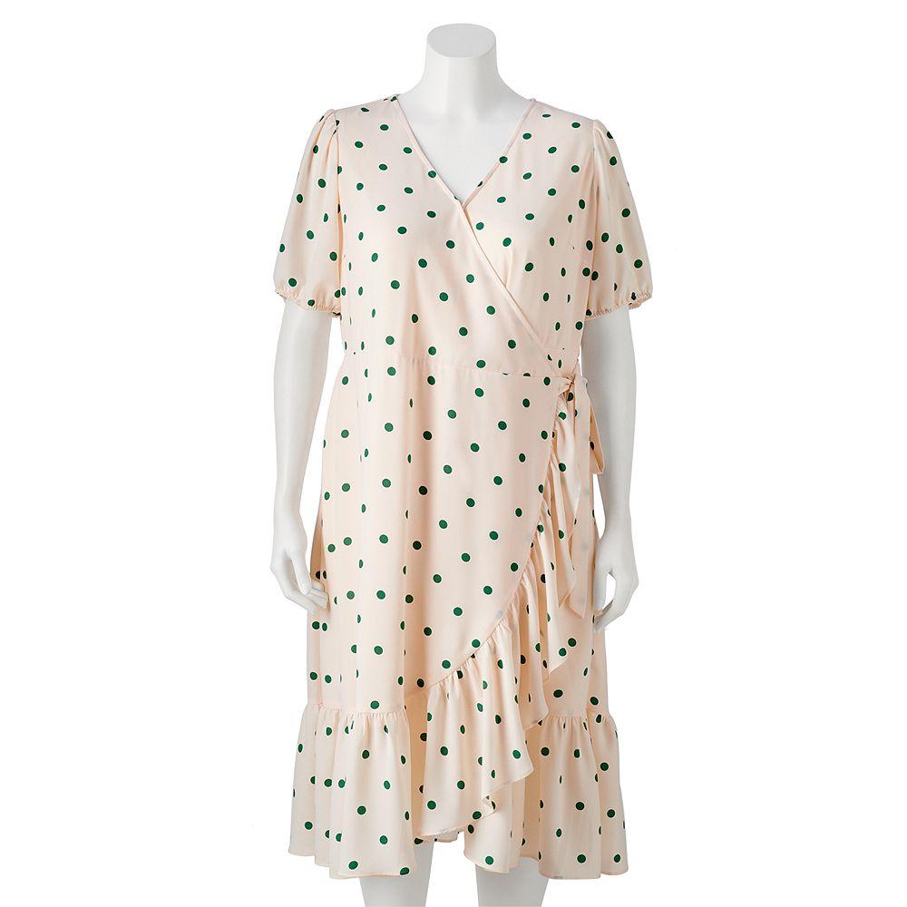 Women's LC Lauren Conrad Puffed Sleeve Midi Wrap Dress