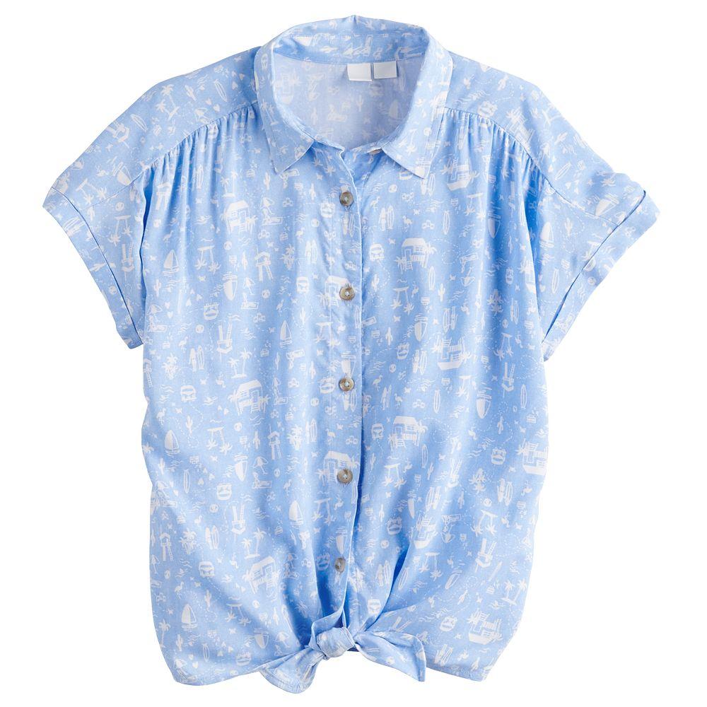 Girls 4-20 SO® Knot Hem Camp Shirt