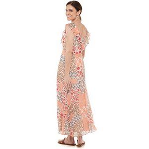 Women's Chaps Ruffle Chiffon Maxi Dress