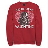 Men's Star Wars You Will Be My Valentine Darth Vader Graphic Fleece Pullover