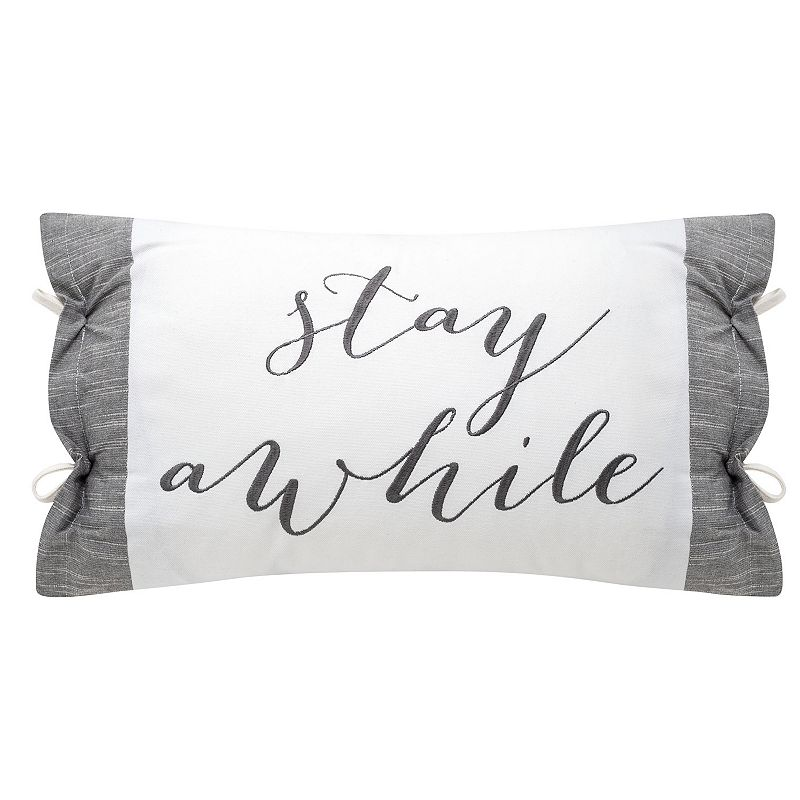"""STAY AWHILE"" Embellished Pillow with Side Tie, White, 14X22"