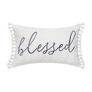 """""""BLESSED"""" Embellished Pillow with Tassels"""