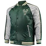 Men's Majestic Hunter Green Milwaukee Bucks Big & Tall Lightweight Satin Full-Snap Jacket
