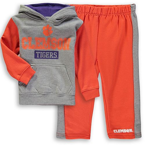 Toddler Colosseum Heathered Gray/Orange Clemson Tigers Back To School Fleece Hoodie And Pant Set