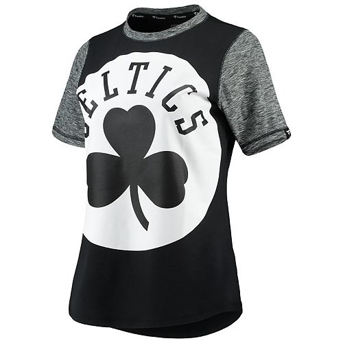 Women S Fanatics Branded Black Heathered Charcoal Boston Celtics Made To Move Static Performance T Shirt