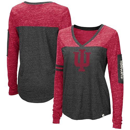 Crimson Small Old Varsity Brand NCAA Indiana Hoosiers Ladies Tri-Blend V-Neck T-Shirt