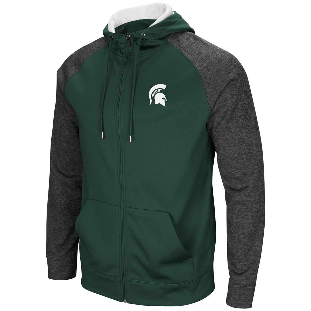 Men's Colosseum Green Michigan State Spartans Big & Tall Magic Rays Full-Zip Hoodie FklNc