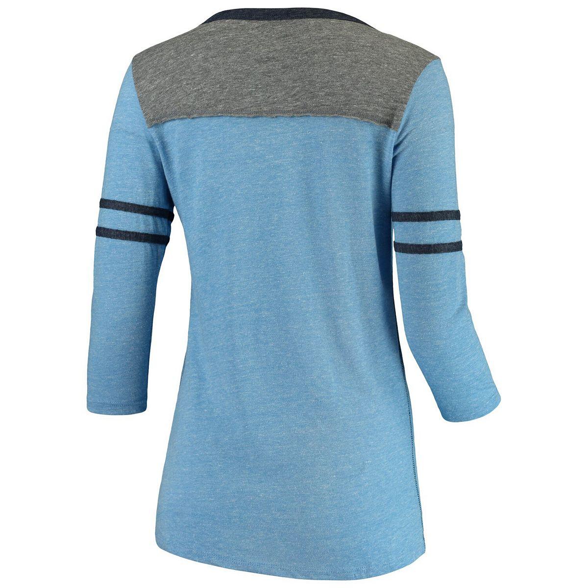 Women's 5th & Ocean by New Era Heathered Carolina Blue/Heathered Gray North Carolina Tar Heels Split Neck 3/4-Sleeve Stripe Tri-Blend T-Shirt A9vot