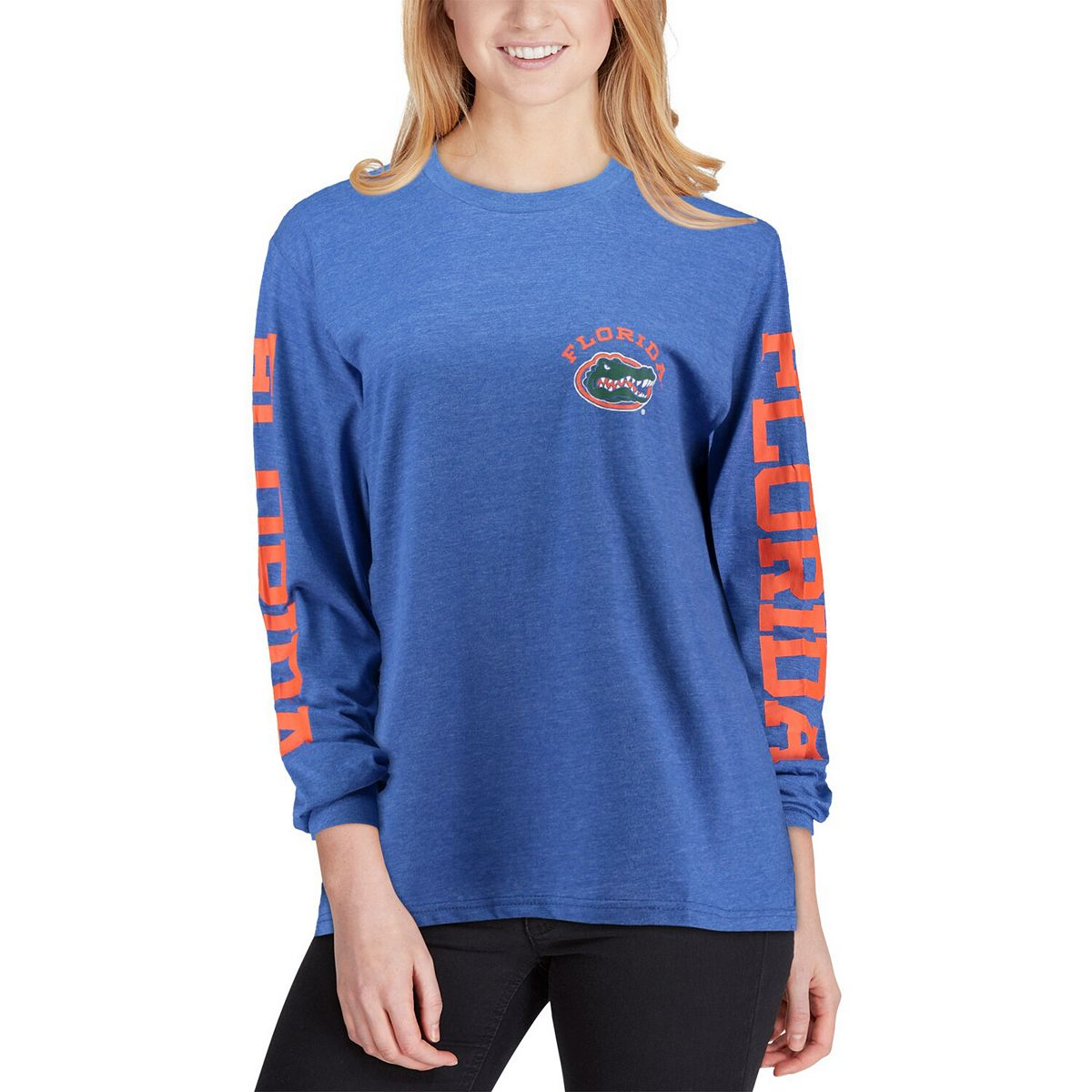 Women's Pressbox Royal Florida Gators McPherson Melange Long Sleeve T-Shirt WH6js
