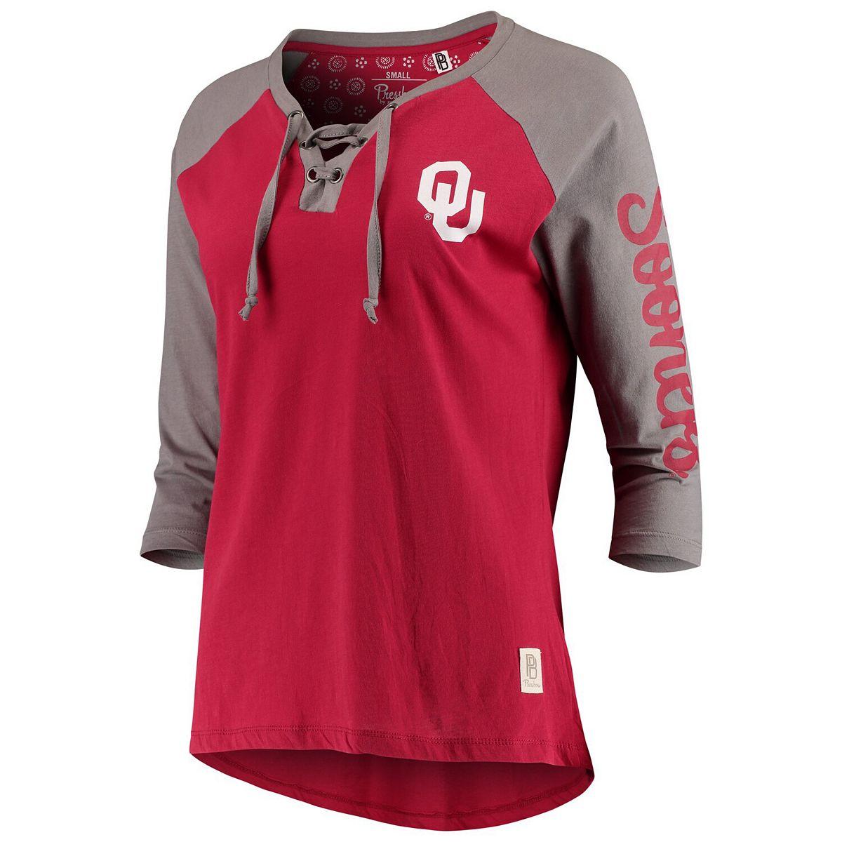 Women's Pressbox Crimson Oklahoma Sooners Skylar Raglan Lace-Up T-Shirt TgiJy