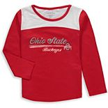 Girls Toddler Garb Scarlet Ohio State Buckeyes Paige Football Striped Long Sleeve T-Shirt