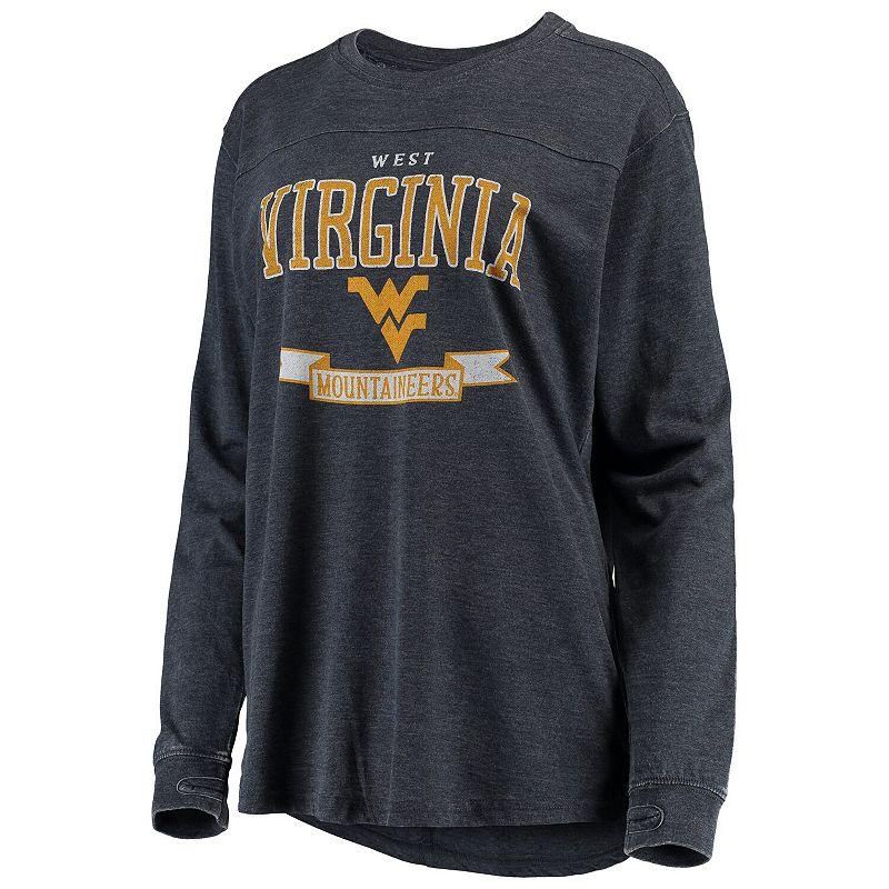 Women's Pressbox Navy West Virginia Mountaineers Debbie Vintage Wash Long Sleeve T-Shirt, Size: Small, Blue