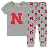 Toddler Heathered Gray Nebraska Cornhuskers T-Shirt & Pants Sleep Set