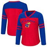 Girls Toddler Colosseum Royal Kansas Jayhawks Bobo Long Sleeve V-Neck T-Shirt