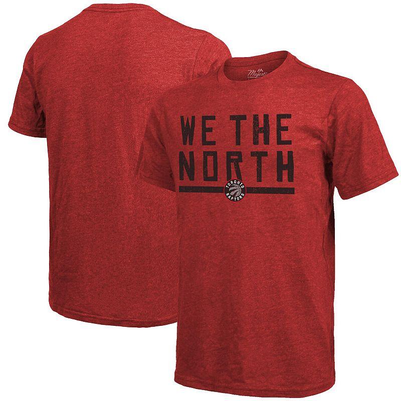Men's Majestic Threads Red Toronto Raptors Hometown Slogan Tri-Blend T-Shirt, Size: Large
