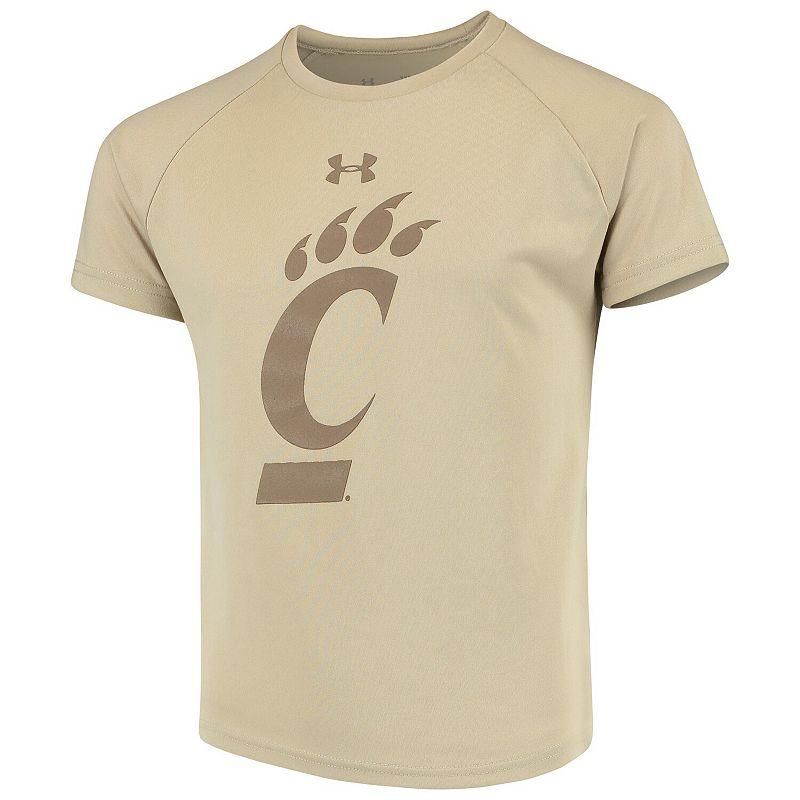 Youth Under Armour Tan Cincinnati Bearcats 2018 Military Appreciation Tech Raglan Performance T-Shirt, Boy's, Size: YTH Small