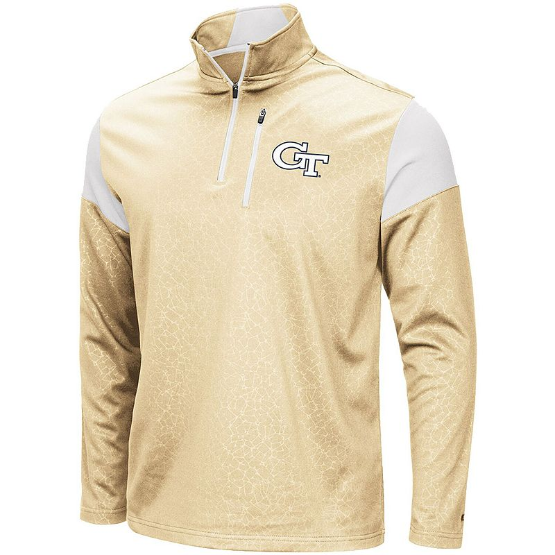 Men's Colosseum Gold Georgia Tech Yellow Jackets Luge Quarter-Zip Pullover Jacket, Size: 2XL