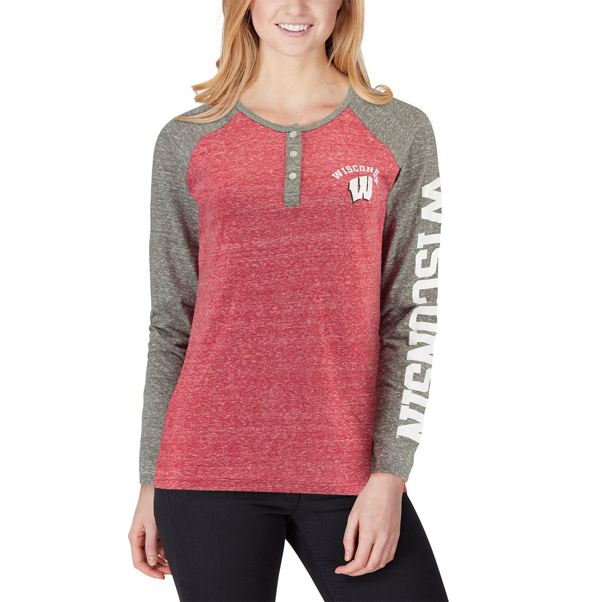Women's Pressbox Red Wisconsin Badgers Avery Knobi Raglan Henley Tri-Blend Long Sleeve T-Shirt LvW1G