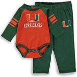 Infant Orange/Green Miami Hurricanes Future Starter Long Sleeve Bodysuit And Pants Set