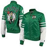 Women's Starter Kelly Green/White Boston Celtics Tie Breaker Satin Full-Zip Jacket