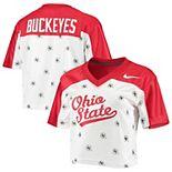 Women's Nike White/Scarlet Ohio State Buckeyes Cropped Jersey Top