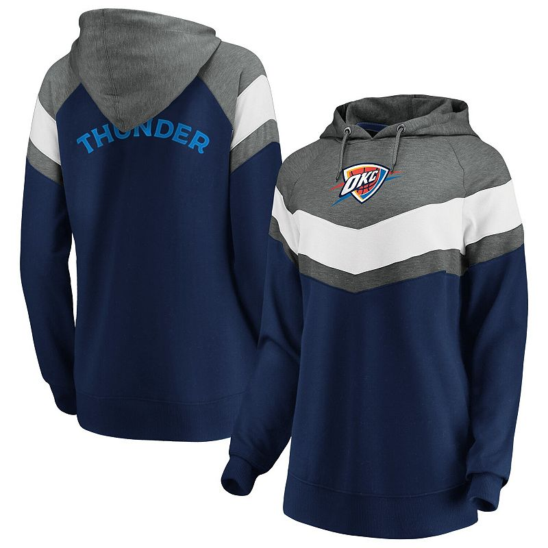 Women's Fanatics Branded Gray/Navy Oklahoma City Thunder True Classics Go All Out Chevron Pullover Hoodie, Size: Large, Grey