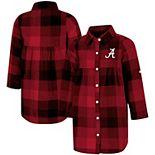 Girls Toddler Colosseum Crimson Alabama Crimson Tide Scooter Plaid Button-Up Dress