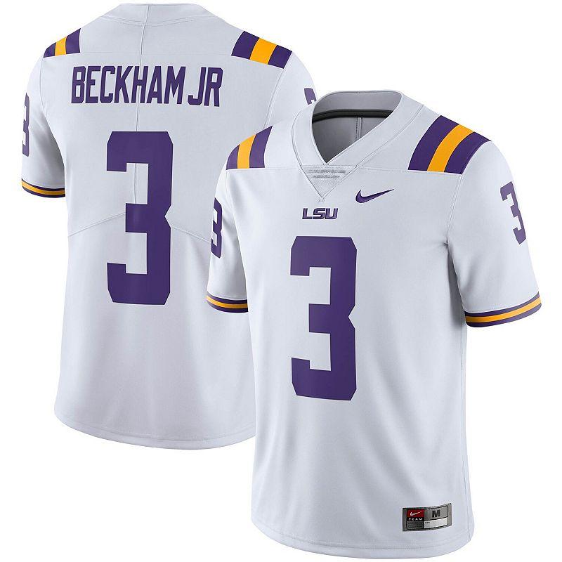 Men's Nike Odell Beckham Jr White LSU Tigers Alumni Limited Jersey, Size: XL