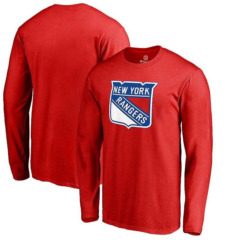 Men's Fanatics Branded Red New York Rangers Primary Logo Long Sleeve T-Shirt, Size: 4XL