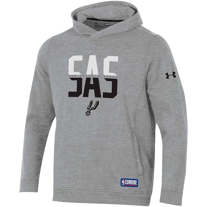 Men's Under Armour Heathered Gray San Antonio Spurs Combine Authentic City Performance Pullover Hoodie, Size: Large, Grey