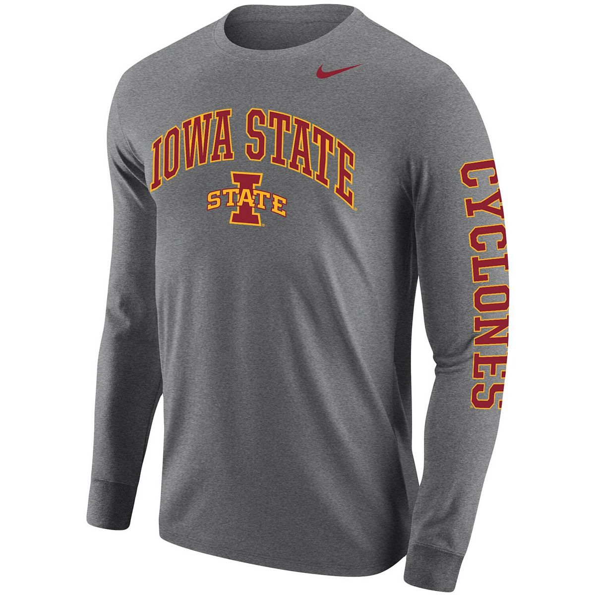 Men's Nike Heathered Gray Iowa State Cyclones Arch & Logo Two-Hit Long Sleeve T-Shirt J3ar1