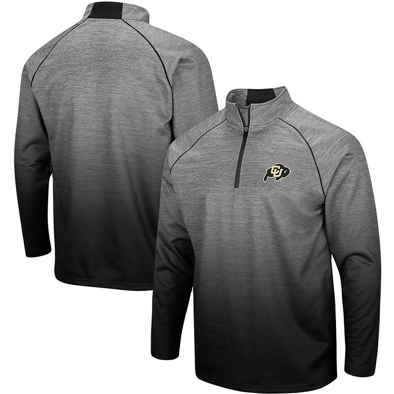 Men's Colosseum Heathered Gray Colorado Buffaloes Sitwell Sublimated Quarter-Zip Pullover Jacket, Size: XL, Grey