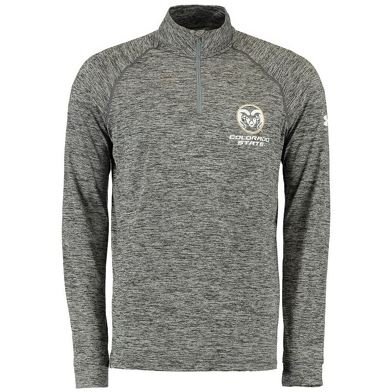 Men's Under Armour Heathered Gray Colorado State Rams Tech Quarter-Zip Performance Pullover Jacket, Size: 2XL, Grey