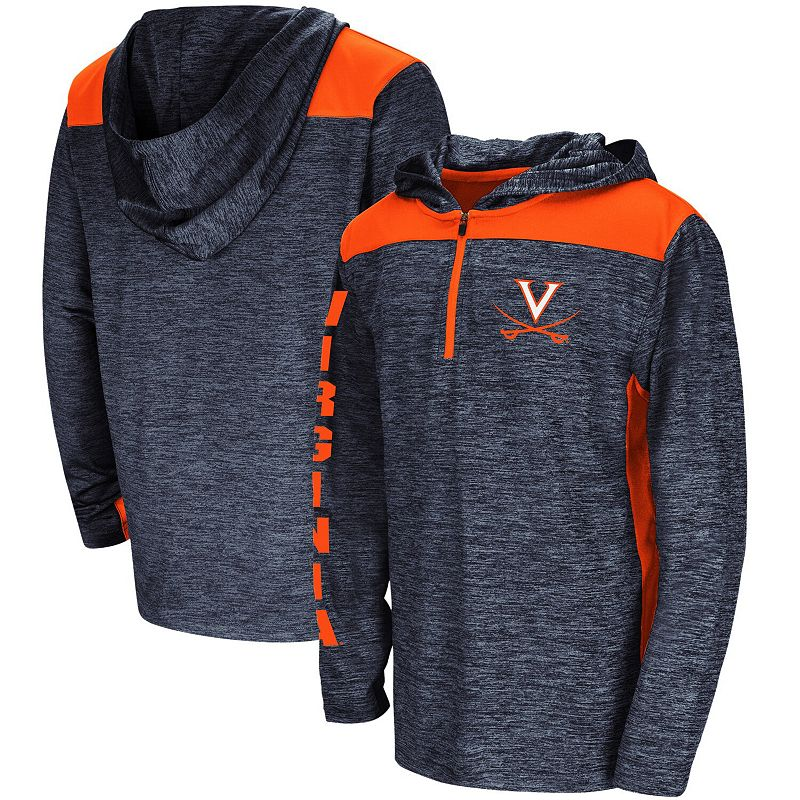 Youth Colosseum Heathered Navy Virginia Cavaliers Quick Kick Quarter-Zip Hoodie, Boy's, Size: YTH Small, Blue