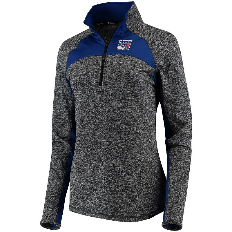 Women's Fanatics Branded Heathered Black New York Rangers Static Quarter-Zip Jacket, Size: 3XL, Grey