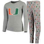 Youth Heathered Gray Miami Hurricanes Long Sleeve T-Shirt & Pant Sleep Set