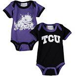 Newborn & Infant Purple/Black TCU Horned Frogs 2-Pack Bodysuit Set
