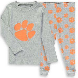 Preschool Gray Clemson Tigers Long Sleeve T-Shirt and Pants Sleep Set